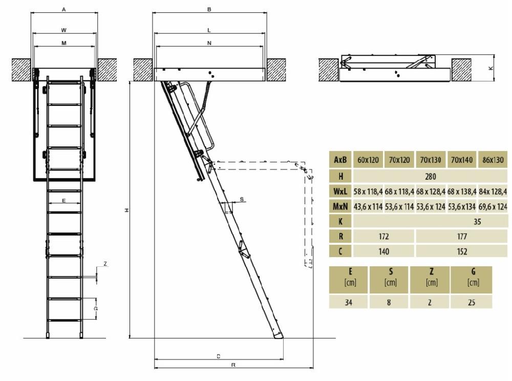 Fakro-Lwf-Ahşap-Katlanır-Çatı-Merdiven-Ölçüleri